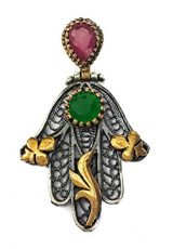 Hamsa-Hand-Of-Fatima-Silver-925-Pendant-Gold-Filigree-Ruby-Emerald-Crystals-15-0