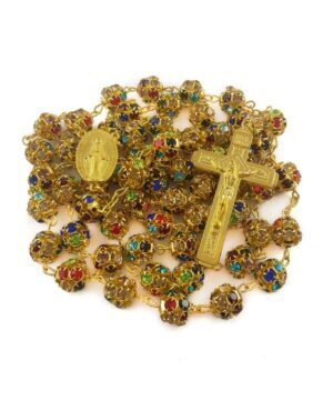 Colorful Crystal Golden Beads Rosary