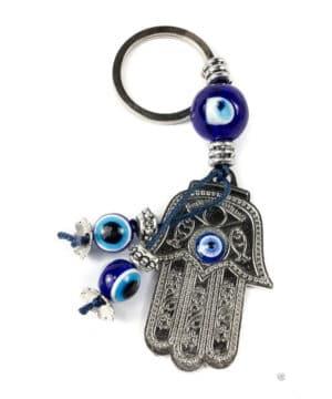 Hamsa Hand Metal Keychain Evil Eye Bead