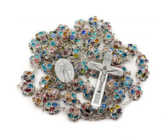 Colorful Beads Rosary Silver