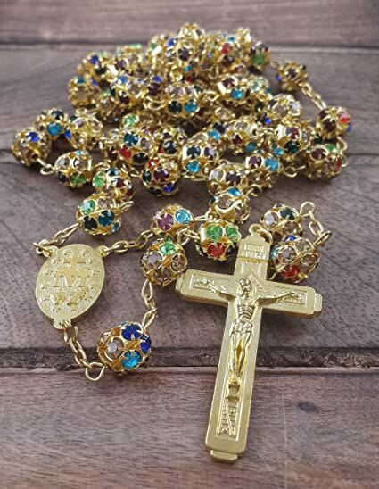 """Handmade Catholic Colorful Zircon Crystals Golden Beads Rosary With 2"""" Metal Jesus Crucifix"""