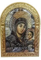 Blessed-Virgin-Mary-Golden-Metal-35-Icon-Picture-Jerusalem-Keepsake-Holy-Land-0