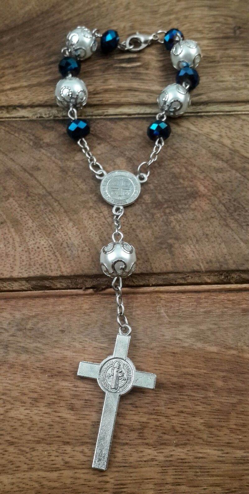 Saint Benedict Deep Blue Beads