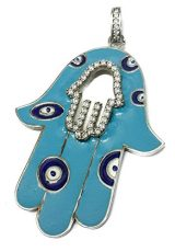 Hamsa-Hand-Of-Fatima-Silver-925-Pendant-Light-Blue-Enamel-Zircons-Jerusalem-24-0