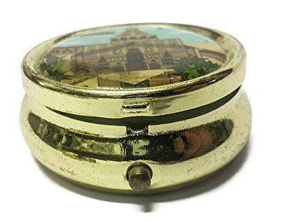 Holy-land-Keepsake-Round-Golden-Metal-Pill-Mint-Box-Case-Jerusalem-16-0-2