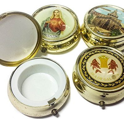 Holy-land-Keepsake-Round-Golden-Metal-Pill-Mint-Box-Case-Jerusalem-16-0