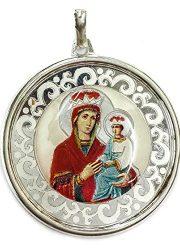 ROUND-RUSSIAN-VIRGIN-MARY-BABY-JESUS-SILVER-925-PENDANT-JERUSALEM-AMULET-18-0