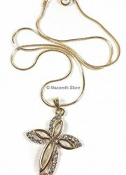 Gold-Plated-Womens-Cross-Zircon-Crystals-Crucifix-Jerusalem-Necklace-Gift-16-0-0