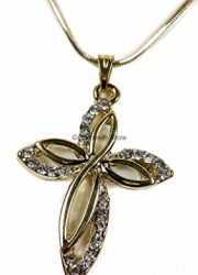Gold-Plated-Womens-Cross-Zircon-Crystals-Crucifix-Jerusalem-Necklace-Gift-16-0-1