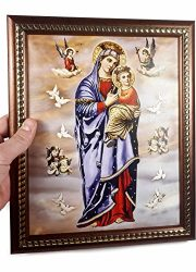 Mary-Madonna-Baby-Jesus-Heaven-Angels-Plaque-Padded-Wall-Hanging-Painting-114-0-2