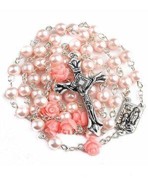 Pink pearl rosary laurdes medal
