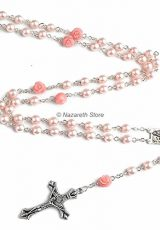 Catholic-Pink-Pearl-Beads-Rosary-Necklace-6pcs-Our-Rose-Lourdes-Medal-Cross-NS-0