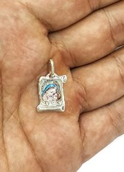 VIRGIN-MARY-WITH-INFANT-JESUS-SCROLL-PENDANT-SILVER-925-RUSSIAN-BLESS-PROTECT-0-1