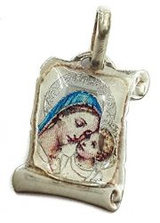 VIRGIN-MARY-WITH-INFANT-JESUS-SCROLL-PENDANT-SILVER-925-RUSSIAN-BLESS-PROTECT-0
