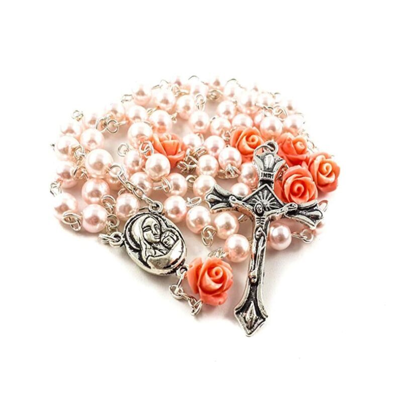 Pink Pearl Beads Rosary Necklace