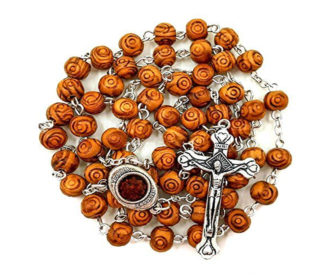 Carved wood rosary
