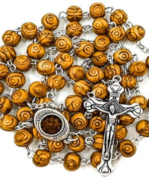 Carved Olive Wood Beads Rosary