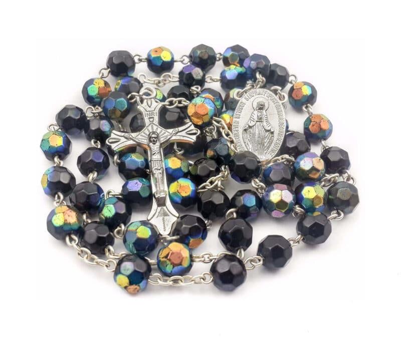 Black Blue Crystal Beads