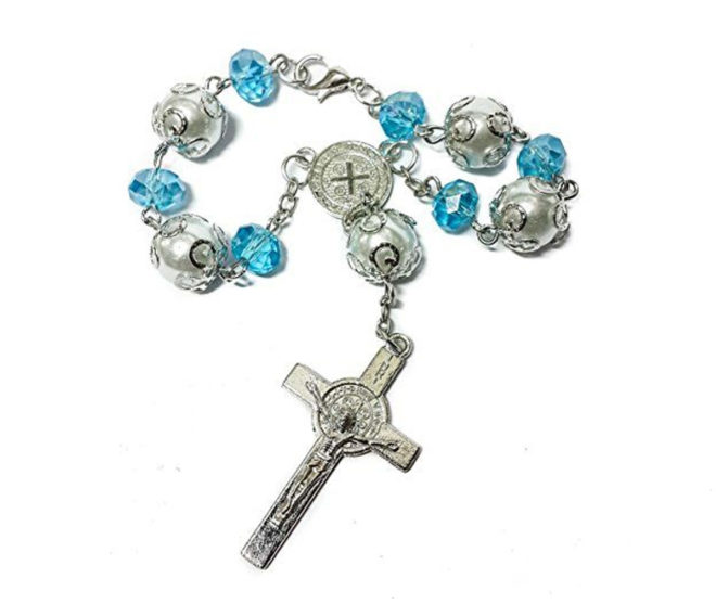 Saint Benedict Catholic Light Blue Beads