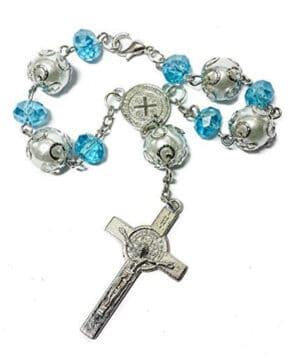 Saint Benedict Catholic Light Blue Beads
