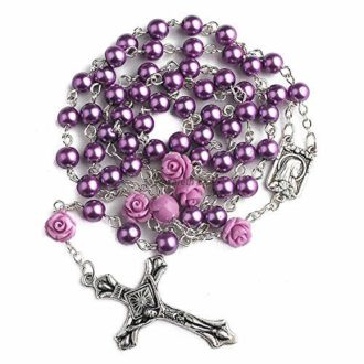 Purple Pearl Beads Rosary Catholic