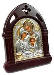 Holy-Family-Wooden-Carved-Icon-SILVER-Plated-Handmade-Christian-JERUSALEM-6-0