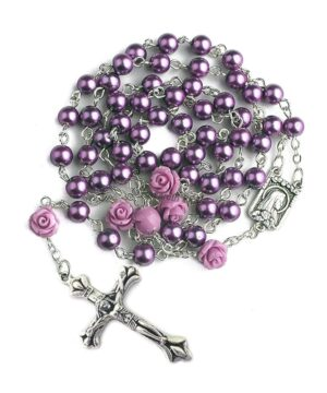purple pearl rosary necklace