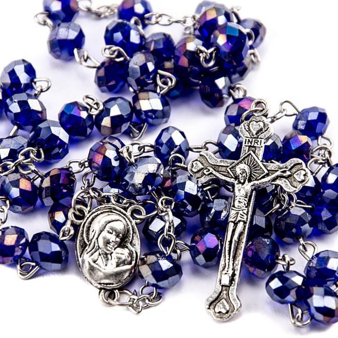 purple blue crystals rosary catholic necklace holy soil