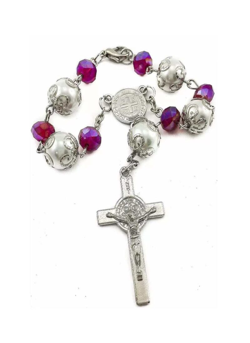 Saint Benedict purple crystal rosary