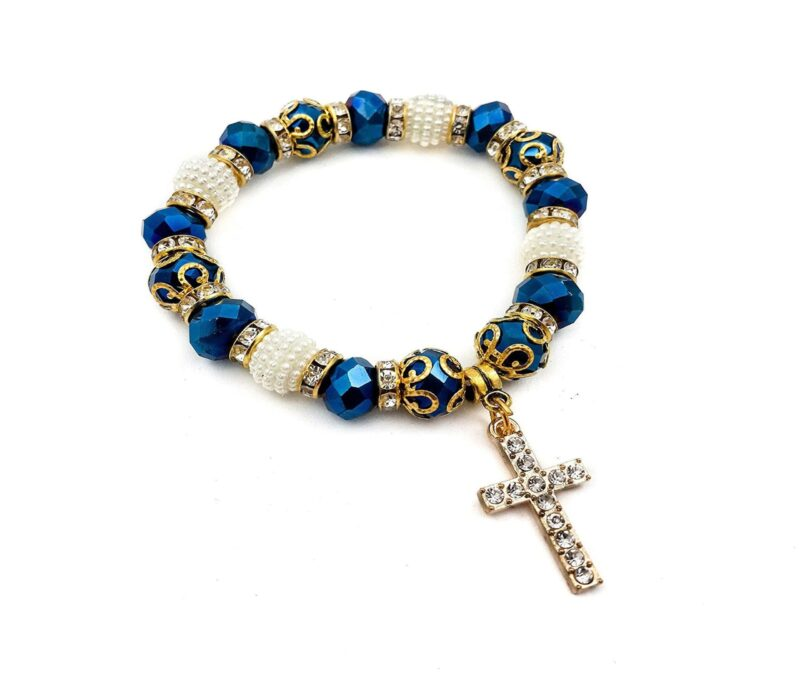 Deep Blue Crystal Beads Rosary Bracelet