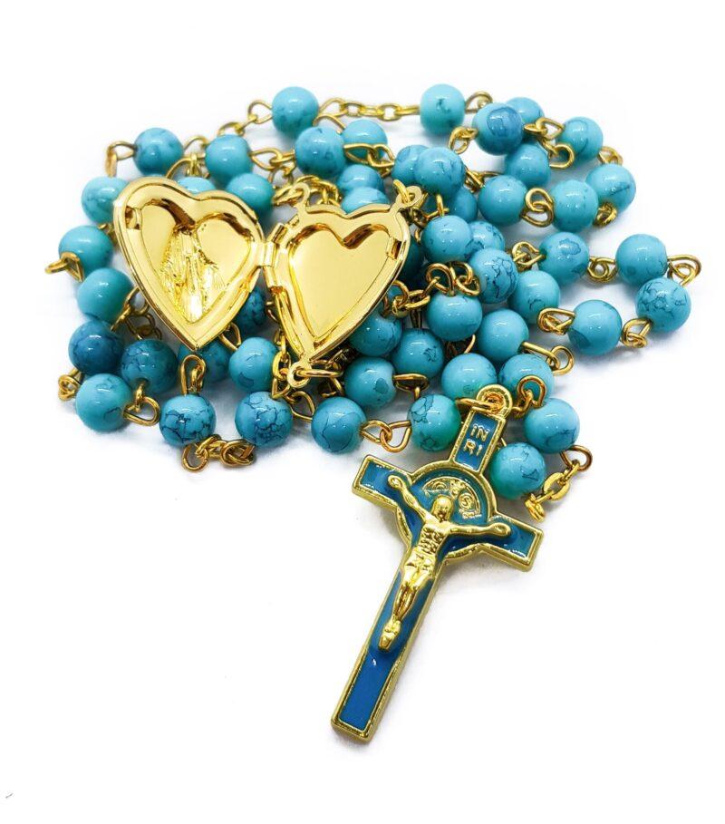 Saint Benedict Turquoise Beads Rosary