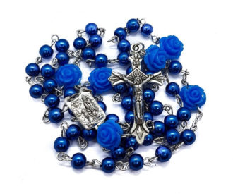 Catholic Blue Pearl Beads Our Rose Flowers Rosary Necklace