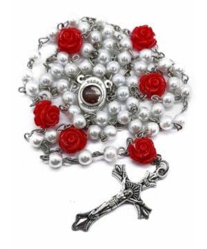 Catholic White Pearl Beads Rosary