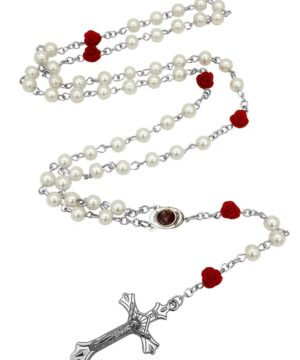 Catholic White Pearl Beads Our Rose Red Flowers Rosary Necklace