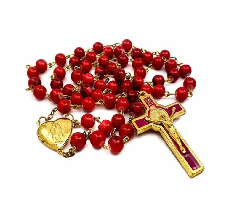 Saint Benedict Red Beads Rosary