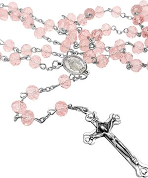 Pink rosary crystal beads