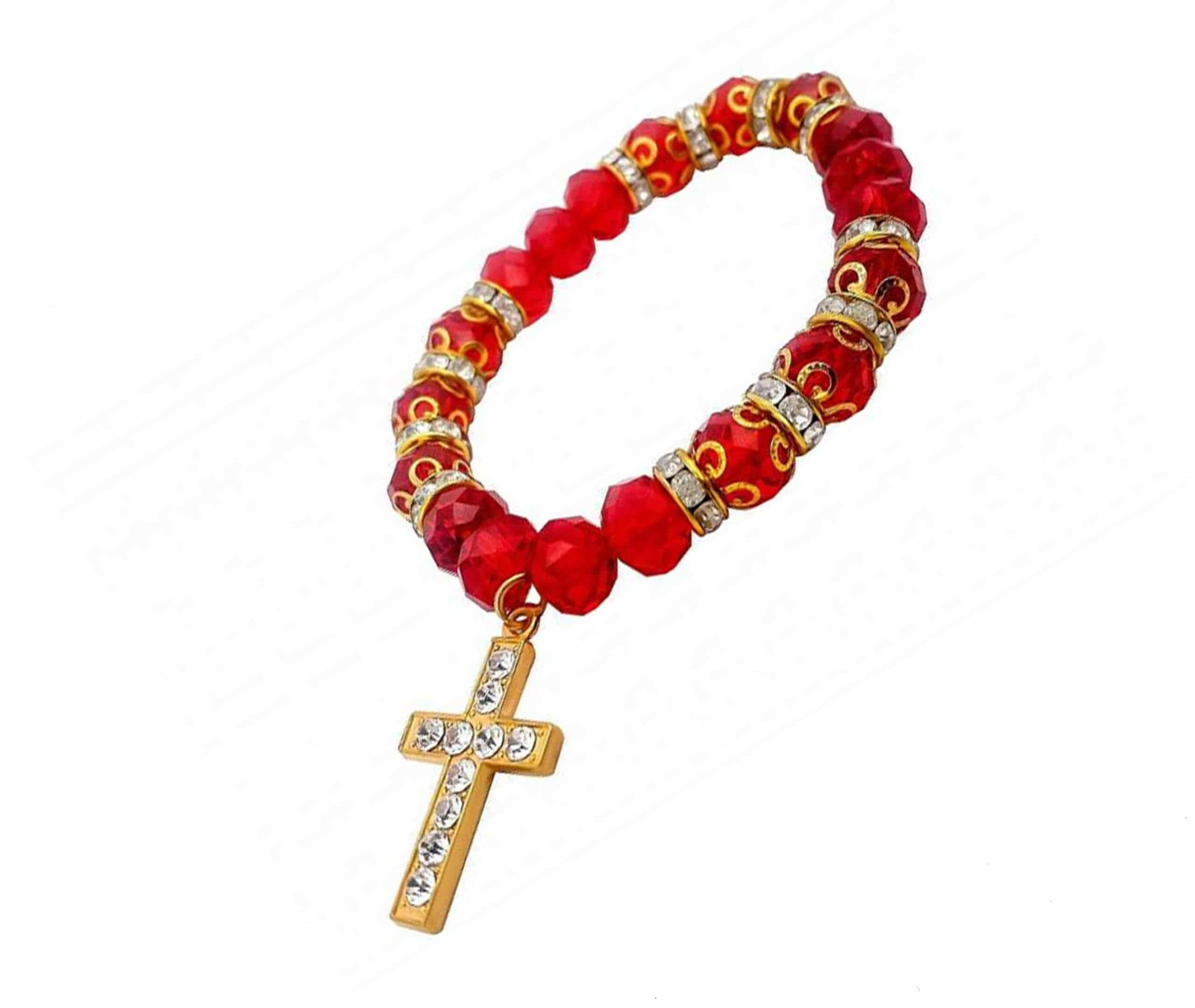 Red resin rosary beads bracelet with silver chain Miraculous medal Catholic gift