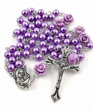 Purple Pearl Beads Rosary Necklace
