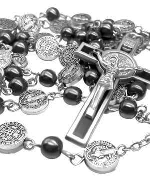 Black Rosary Hematite Beads Catholic Necklace St Benedict Chaplet Patron Medal