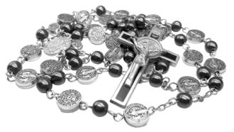 Black Rosary Hematite Beads Catholic Necklace St Benedict Chaplet Patron Medal