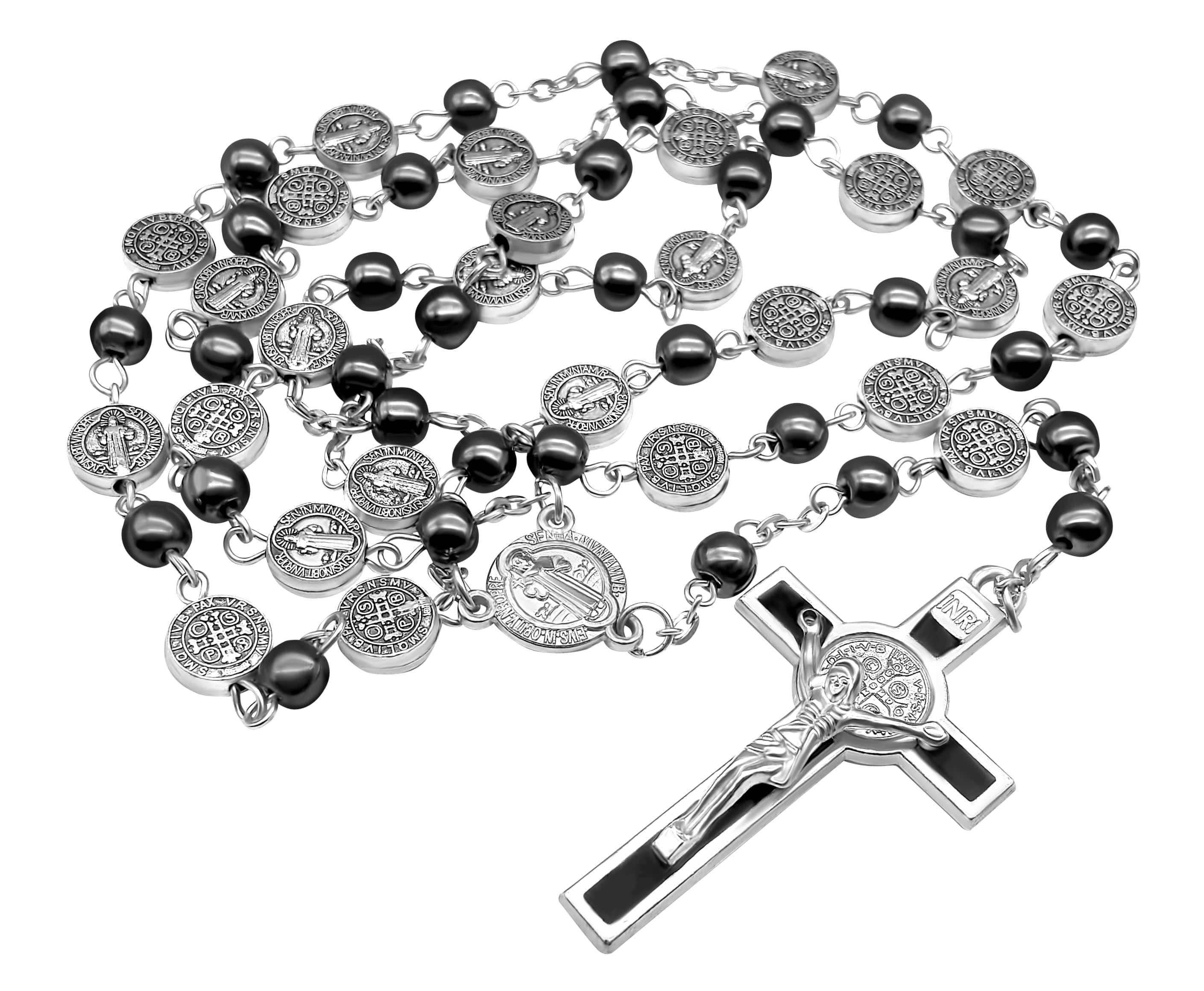 7c4e68c44c8 Black Rosary Hematite Beads Catholic Necklace St Benedict Chaplet ...