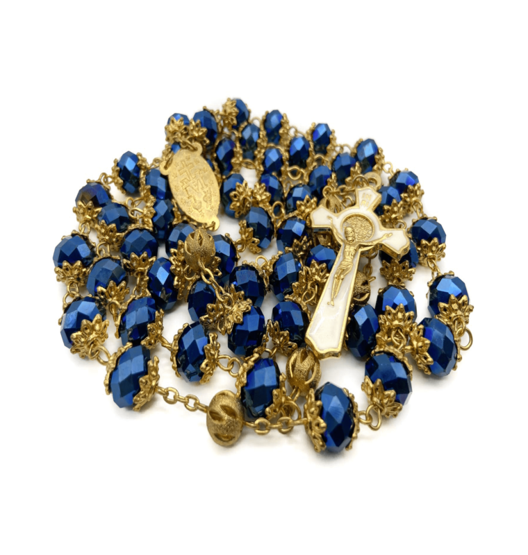 Deep Blue Crystal 10mm Beads Rosary Necklace St Benedict