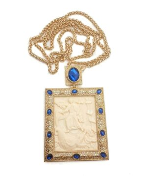 Pectoral Cross Biblical Scene Blue Crystals