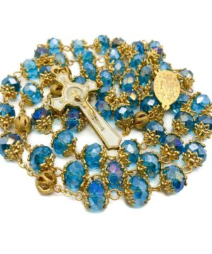 Light Blue Crystal Beads Rosary St Benedict