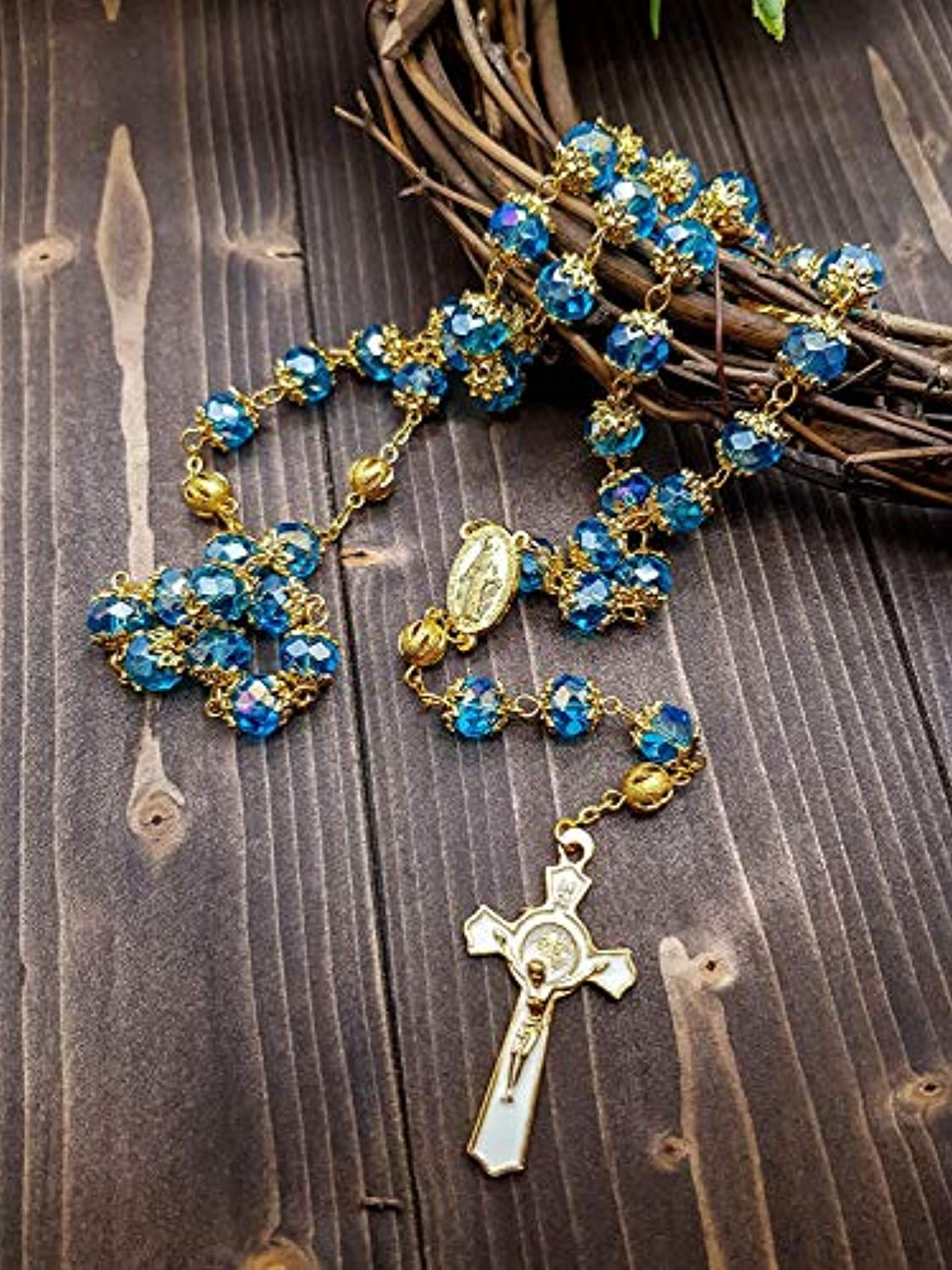 Deep Blue Crystal Beads Rosary St Benedict Beaded Necklace Gold Plated 10mm Catholic Rosary Beads Miraculous Medal /& San Benito Cross