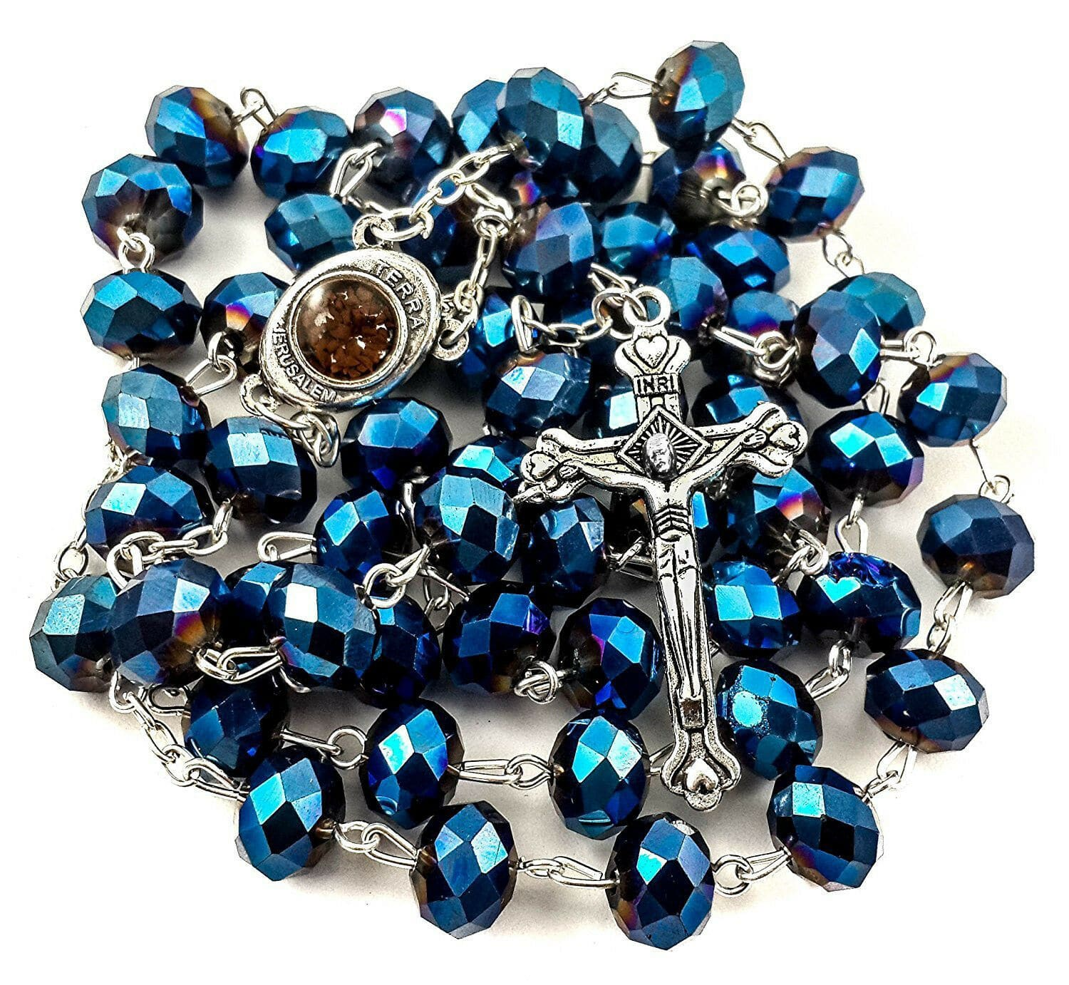 Deep Blue Crystal Beads Rosary Catholic Necklace Holy Soil Medal Cross
