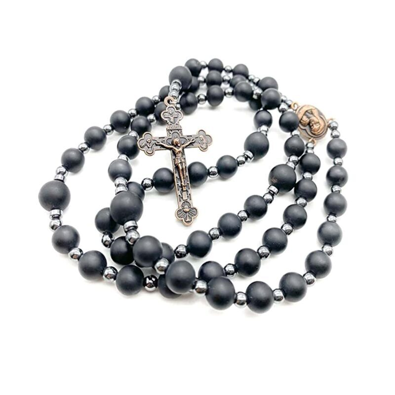 Black Agate Matte Beads Hematite Rosary