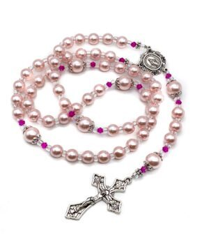 Pink Pearl Beads Rosary Catholic Necklace Miraculous Medal Cross Crucifix