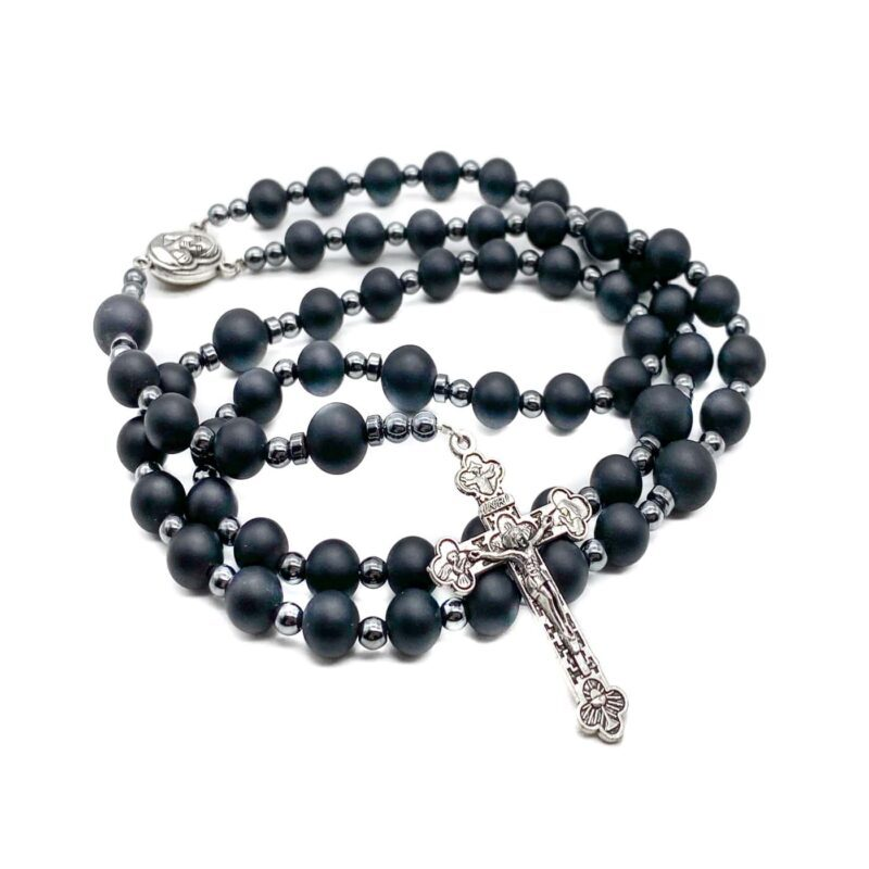 Black Matte Agate Beads Rosary
