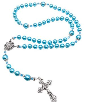 Light Blue Pearl Beads Rosary Catholic Necklace Miraculous Medal